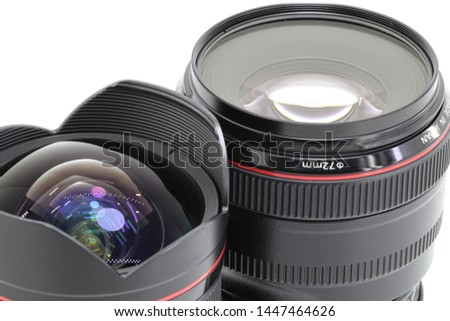 Hight performance camera lens with complicate lens reflections.