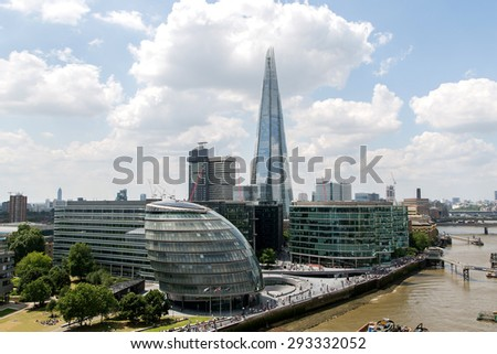 hight view of the London City Hall council at the bank of the River Thames.business aria view from the Tower Bridge