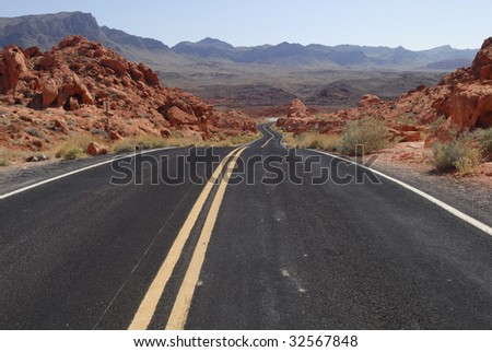 Highway across the Valley of Fire State Park near Las Vegas, Nevada