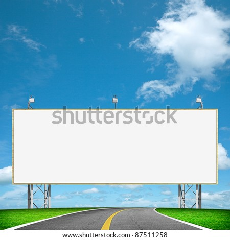 Highway and blank billboard