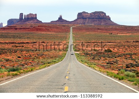 Highway 163 approaching Monument Valley, Utah, USA