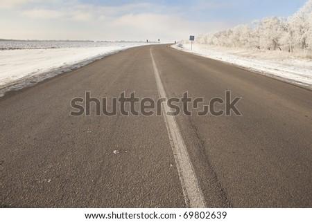 Highway around Iceland, sunny day