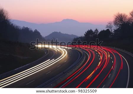 Highway as it passes through Donostia - stock photo