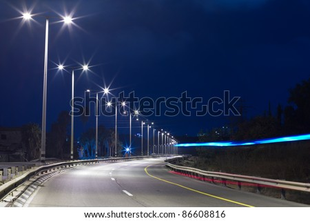 Highway at night in Tel Aviv. Yom Kippur. - stock photo