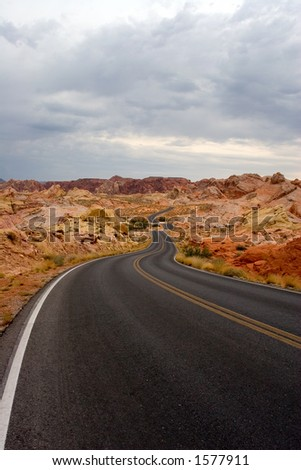 Highway at Rainbow Vista Valley of Fire State Park Overton Nevada