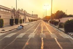 Highway at sunset in Delhi