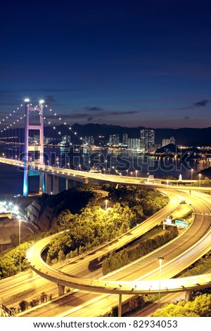 highway bridge at night in hong kong #82934053
