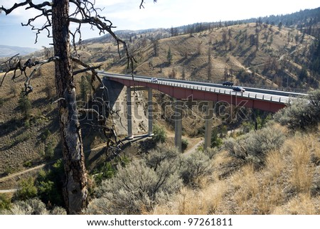 Highway bridge by Kamloops, British Columbia, Canada - stock photo