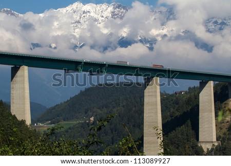 Highway bridge crossing Austria on the way to Italy - stock photo