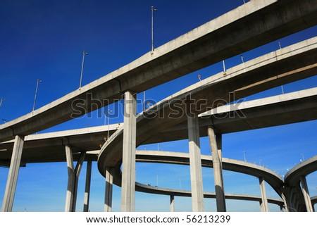 Highway Bridge over Chao Phraya river Thailand