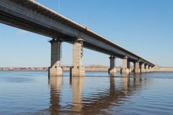 Highway bridge over the River Volga