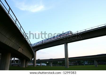 Highway bridges intersections, suspended train railway.