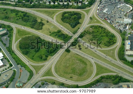 Highway clover leaf interchange.