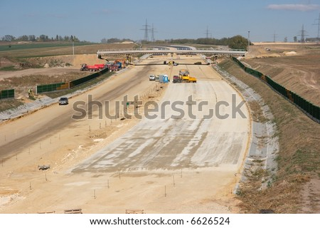 Highway construction site from above