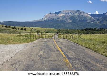Highway cross national park with mountain background