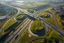 highway crossing in Campinas at dawn seen from above, Sao Paulo, Brazil, sunny day