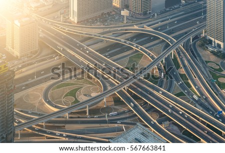 Highway crossroads at sunset, aerial view #567663841