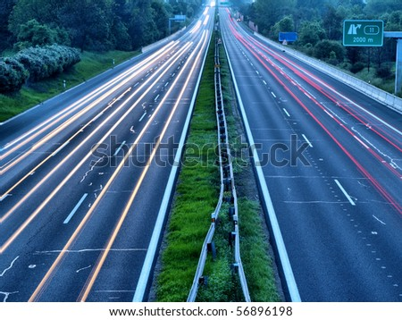 Highway during sunset