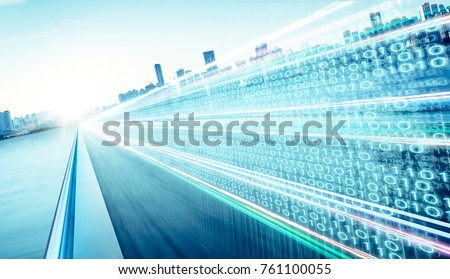 Highway flyover with binary code numbers on motion blurred asphalt  road , speed and faster digital matrix technology information concept .
