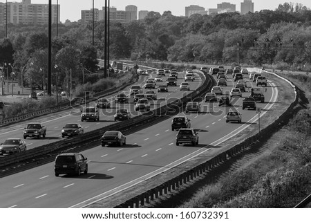 Highway in black and white with number plates and car logos removed stock photo