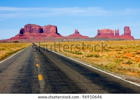 Highway 163 in Monument Valley - stock photo