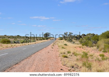 Highway in the Australian Outback with Blue Sky