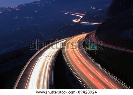 Highway in the night, Lavaux, Switzerland