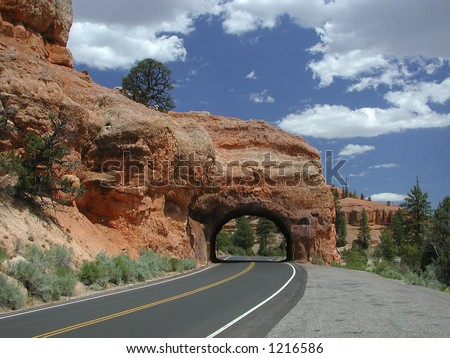 Highway 12 in Utah going through a tunnel in Red Canyon on the way to Bryce Canyon