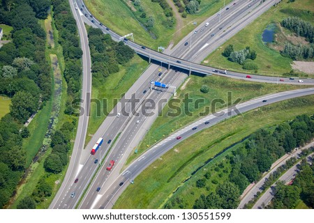 Highway intersection from the air
