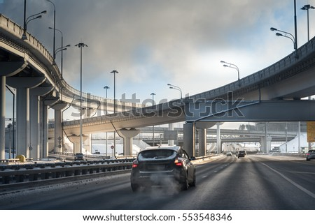 highway junction at the middle of the day. Moscow #553548346