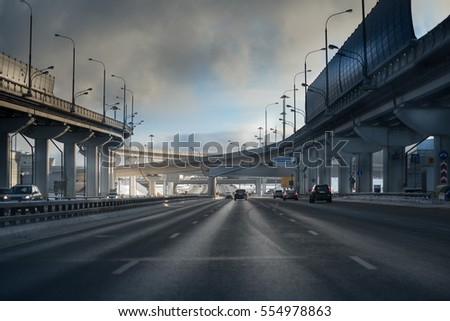 highway junction at the middle of the day. Moscow #554978863