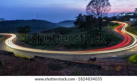 Highway lights, Light travel faster. Light travel faster than sounds. Stock photo ©