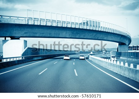 highway of japan, view of a speeding bus. #57610171