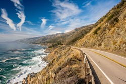 Highway 1 on the pacific coast, California.