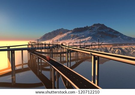 Highway over the water on a background of mountains.