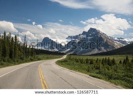 Highway passing below the Canadian Rockies, Banff National Park, Alberta