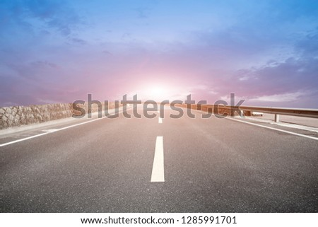 Highway Pavement Urban Road and Outdoor Natural Landscape #1285991701