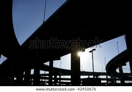 Highway ramps in silhouette