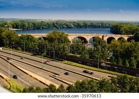 Highway, river and bridge