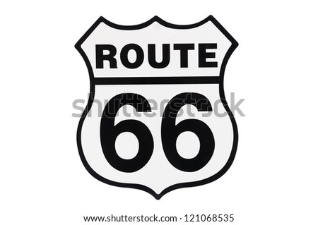 Highway road sign Route 66, isolated on white background,
