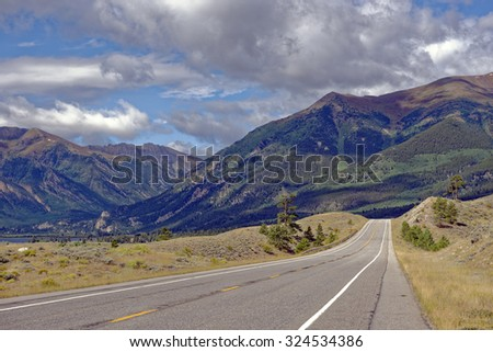 Highway 82 Rocky Mountains vista near Twin Lakes, Colorado, U.S.A. - Shutterstock ID 324534386
