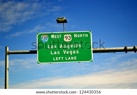 Highway sigh to Las Vegas and Los Angeles. USA