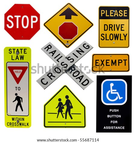 highway sign collection isolated over white background