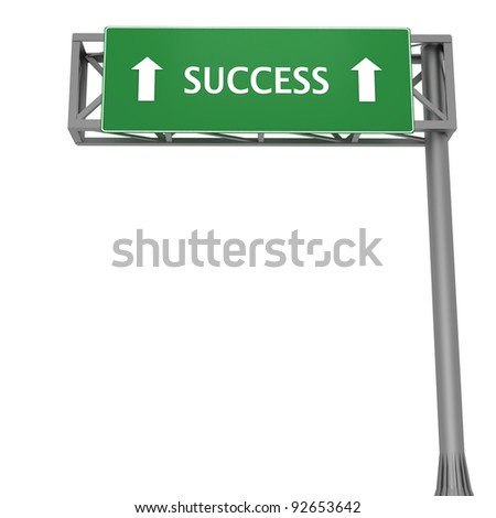 Highway sign pointing to SUCCESS straight ahead