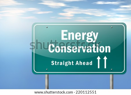 Highway Signpost with Energy Conservation wording