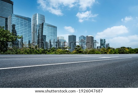Highway skyline and city buildings