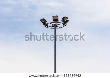 Highway spotlight isolate on white.
