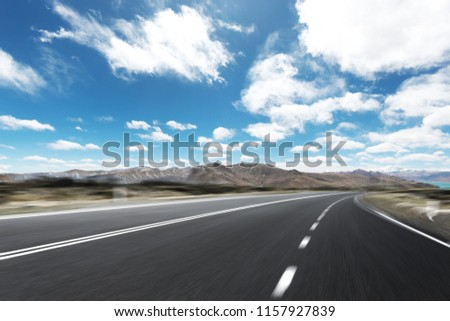 highway through mountain with blue sky  #1157927839