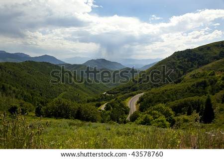 Highway through the mountains and forests of Emigration Canyon near Salt Lake City, Utah.