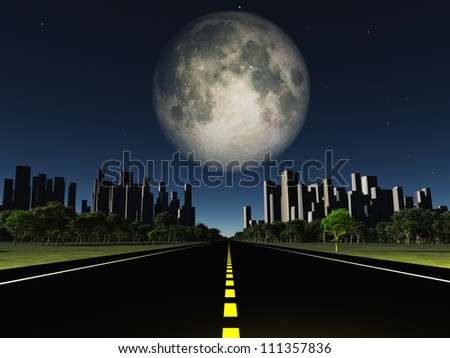 Highway to city with large moon